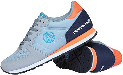 Paperplanes-1142 Unisex Fashion Colorful Low Top Training Sneakers 1142-1-Gray Navy 5o9mFYwi