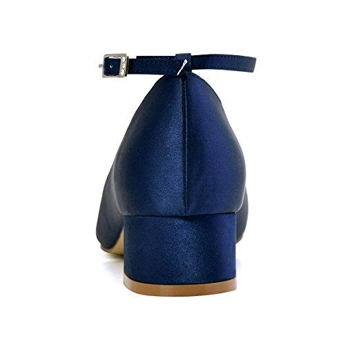 ElegantPark Women Closed Toe Chunky Heel T-Strap Pumps Satin Evening Wedding Dress Shoes Navy Blue 6aGoI