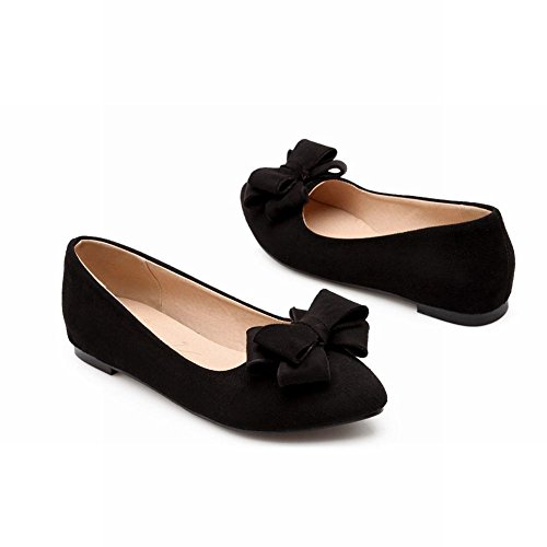 Latasa Moda Para Mujer Cute Bow Nubuck Flats Zapatos, Dentro De La Cuña Baja Bombas Zapatos Negro