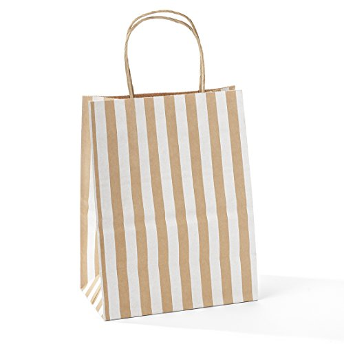 Halulu 8x4.75x10 50 Pcs Kraft Paper Bags Shopping Bags Grocery Mechandise Paper Gift Bags (Brown with White Strip) by GSSUSA