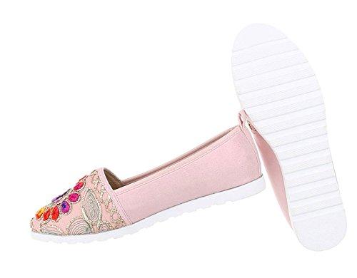 Damen Ballerinas | Flats Slipper | Flache Schuhe | Orient Halbschuhe | leichte Sommerschuhe | Strandschuhe Flats | Schuhcity24 Rosa