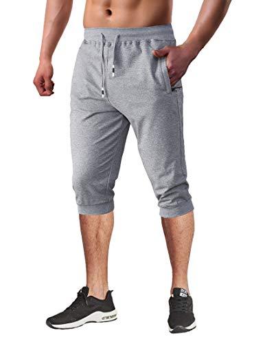 BIYLACLESEN Capri Jogger Pants for Men Training Pants Men Cotton Pants for Men Beach Pants for Men Running Shorts Men Pockets