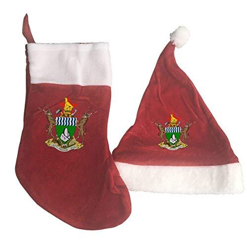 Zimbabwe National Emblem Santa Hat & Christmas Stocking Holiday Christmas Decorations Party Accessory