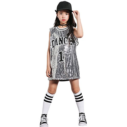 Girls Sequins Costume Hip Hop Dancewear Sparkle Sleeveless Tank Top Dress (Silver, 10-12) by LOLANTA