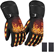 Heated Gloves with Finger Touch, Electric Rechargeable Battery Heating Gloves for Men Women,Winter Motorcycle