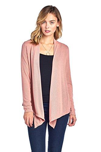 Hollywood Star Fashion Women's Long Sleeves Knit Cardigan Flyaway Plain Basic (Medium, Mauve) ()