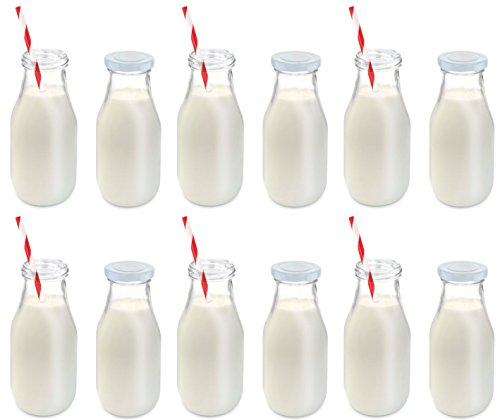 KOVOT 11-Oz Glass Milk Bottle Set of 12 - Includes Reusable Lids and Straws