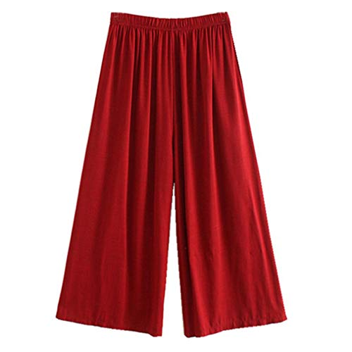 - Dreaman Men's Shorts Lightweight Wide Leg Trousers Pants Elastic Waist Trousers Harem Casual Trousers Going Out Sweatpants (One Size, Wine)