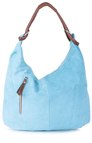 Real Shopper Hobo Baby Blue Nl569 Handmade Suede Purse Shoulder Large Italian Leather Bag pxwpqA6r