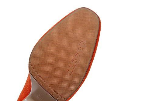 Ziehen Pumps Schuhe AllhqFashion Quadratisch Damen auf Nubukleder Hoher Zehe Orange Absatz Rein BRRHwtgq