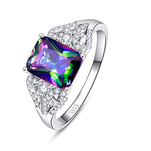 (BONLAVIE Womens 925 Sterling Silver Created Rainbow Topaz White Cubic Zirconia CZ Solitaire Engagement Love Promise Rings Size 6)