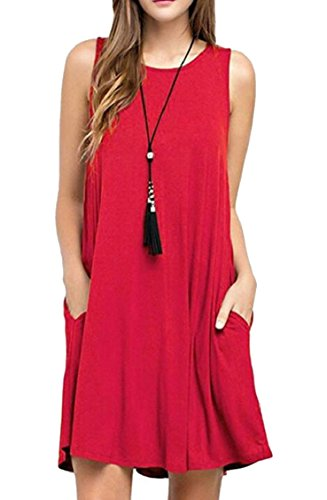 Summer Swing Dress Red T Jaycargogo Sleeveless Loose Women's Simple Shirt WTnZg