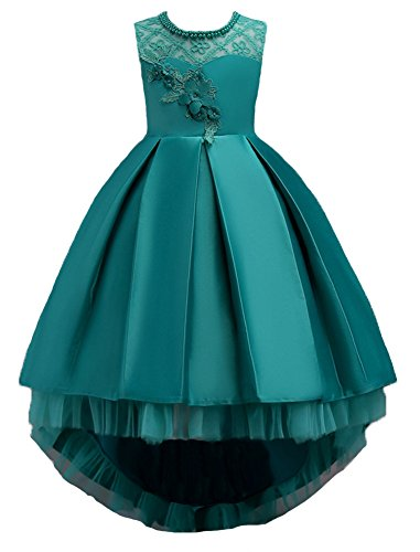 Big Dresses for Girls Size 7-16 for Wedding Formal Tulle Ball Gown Party Prom Princess Pageant Elegant Bridesmaid Dresses Girls 14-16 15 Years Age of 14 Teen Girl Children Gowns ( Green 170 )