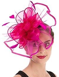 d87ccf08ce6 Women s Organza Church Kentucky Derby British Bridal Tea Party Wedding Hat  Summer Ruffles Cap