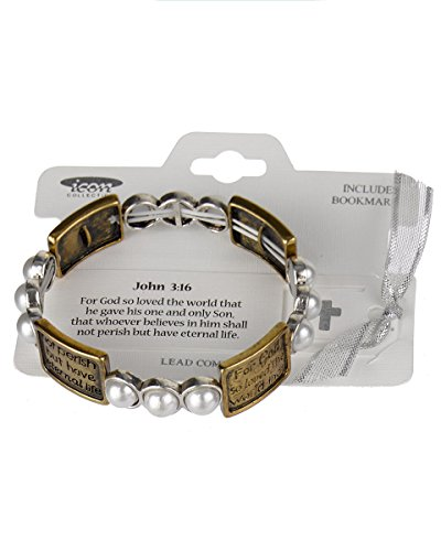 Jewelry Nexus John 3:16 Inspirational Two-tone Engraved Imitation Pearl Stretch Bracelet with Bookmark
