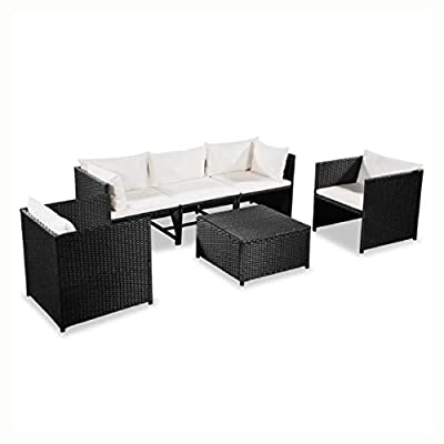 HEATAPPLY Outdoor Furniture Set, 6 Piece Garden Lounge Set with Cushions Poly Rattan Black
