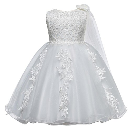 vermers Hot Sale Lace Dresses Girl Princess Bridesmaid Pageant Tutu Tulle Gown Party Wedding Dress(18M, White) (Cardigan Portrait Collar)