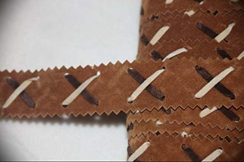 2 Yards Caramel Tan Cream Dark Brown Insertion Zig Zag Velveteen Assorted Pattern Ribbon Lace Trim 1
