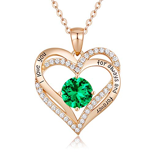 CDE Forever Love Heart Pendant Necklaces for Women 925 Sterling Silver with Birthstone Zirconia, Birthday Jewelry Gift…