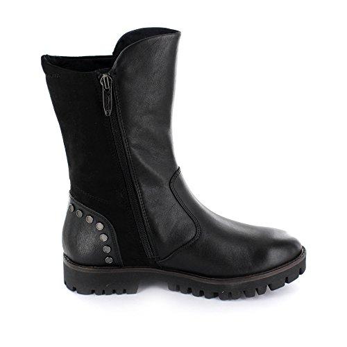 Tamaris 25403-055 - Botas de cuero y tela para mujer negro