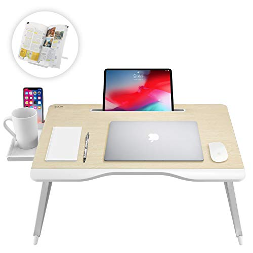 Saiji Multi-Function Laptop Desk Table, with Handrest Bookstand, Tablet Stand, Phone Stand, Storage Drawer, Cup Holder, for Bed Sofa Couch Carpet Floor ()