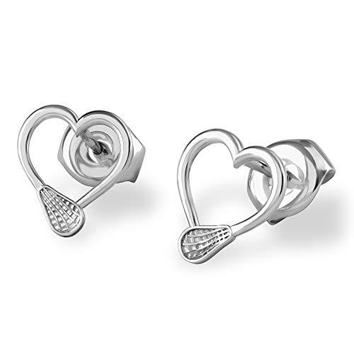 Laxjewelry Lacrosse Offensive Stick Hearts Stud Earrings in 925 Silver/Lacrosse Accessories/Lacrosse Girls Gifts/Lacrosse Accessories/Lacrosse Womans Stick/USA Womens Lacrosse