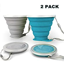 JBER Silicone Collapsible Travel Cup, Silicone Folding Camping Cup with Lids Expandable Drinking Cup Set BPA Free Reusable Portable Graduated for Outdoor Hiking Travel (2 Pack, Grey & Blue)