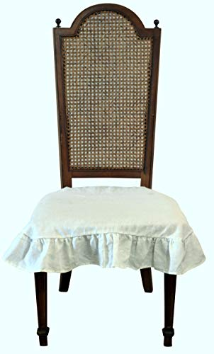 Dining Beautiful Linen Chair Seat Cover 4 Sided Ruffle Large (Off White) by Dining Beautiful (Image #4)