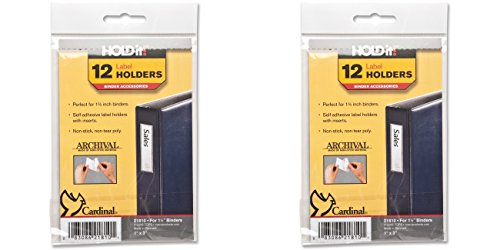 Cardinal HOLDit! Self-Adhesive Binder Label Holders, 1 x 3 Inches, Clear, 12 Label Holders and Inserts per Bag (21810), 2 Packs