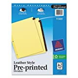 Avery Leather Pre-Printed Tab Dividers, Clear Reinforced, 8.5 x 11 inches, A-Z Tab, Red (11323) (5)