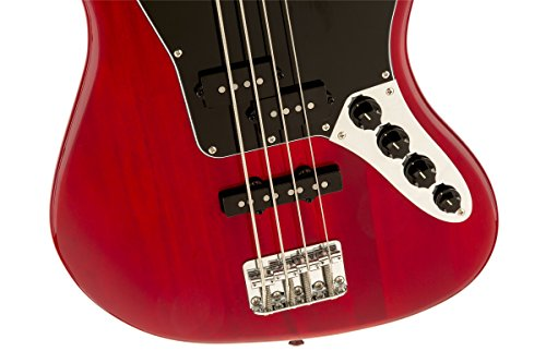 Squier by Fender Vintage Modified Jaguar Beginner Short Scale Electric Bass Guitar - Crimson Red Transparent by Fender (Image #2)