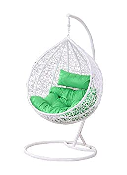 Virasat Furniture & Furnishing Outdoor/Indoor/Balcony/Garden/Patio/Hanging Swing Chair With Cushion & Hook/Color-White