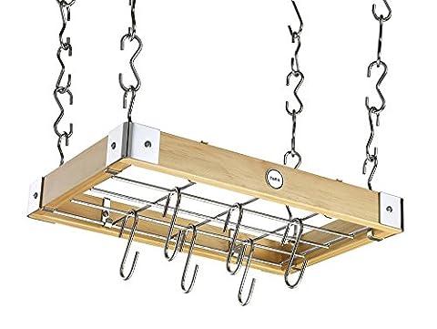 Hahn ZA4-90200 Metro Wood Ceiling Rack, Natural - Wood Pot Rack