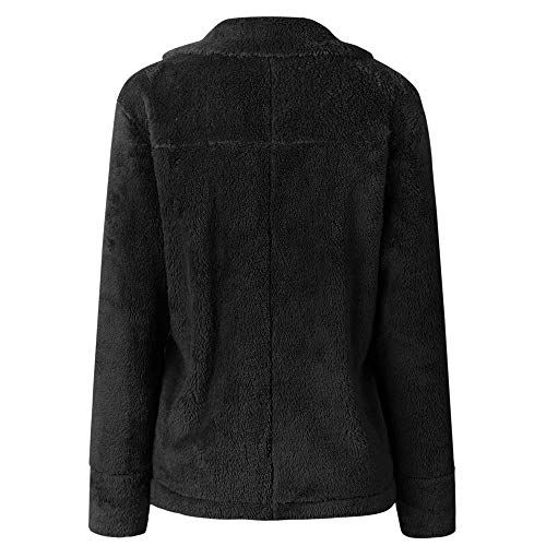 Sleeve Winter Front Outerwear Women's Coat Fleece Open Black Pocket Long Jacket Warm XOWRTE with 0nxpAYCwqw