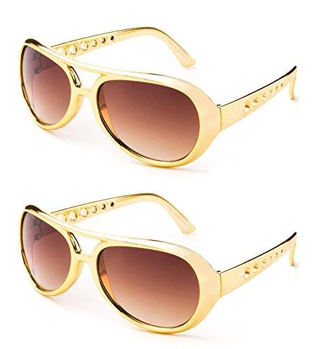 (Elvis The King Presley Shiny Chrome Party Sunglasses 60's Rock Star Classic Aviator Sunglasses)