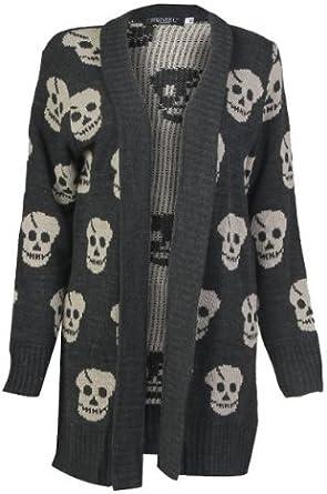 Forever Women's Skull Print Knitted Open Cardigan (ML 1012, Grey)