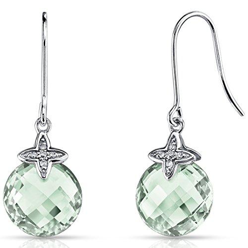 14 Karat White Gold 6.75 Carats Green Amethyst Diamond Dangle Earrings