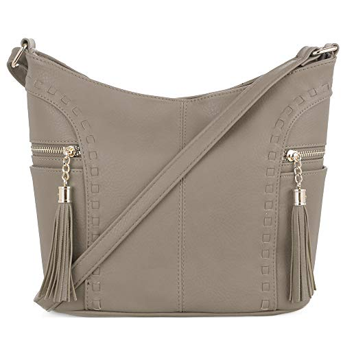 (DELUXITY | Crossbody Hobo Slouch Bucket Purse Bag | Side Pockets with Tassel | Adjustable Strap | Taupe)