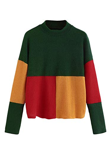 Multi Color Pullover - SweatyRocks Women's Long Sleeve Mock Neck Color Block Casual Knit Sweater Pullover Multicolor #2 S