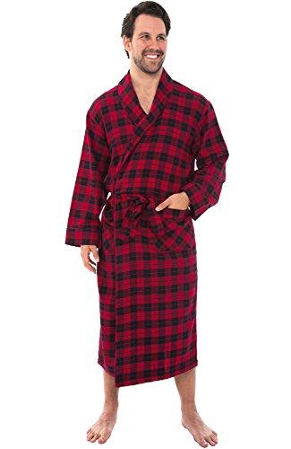 Alexander Del Rossa Mens Flannel Robe, Soft Cotton Bathrobe, 3XL Red and Black Tartan Plaid - Flannel Robe Red