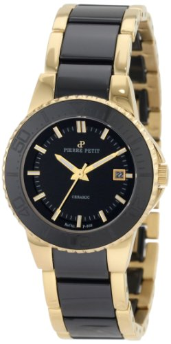 Pierre Petit Women's P-808C Serie Colmar Gold PVD Stainless-Steel and Black Ceramic Bracelet Watch
