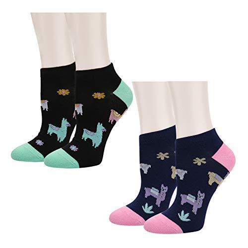 (Women Girls Novelty Funny Cute Llama No Show Low Cut Cozy Ankle Socks 2 Pack)