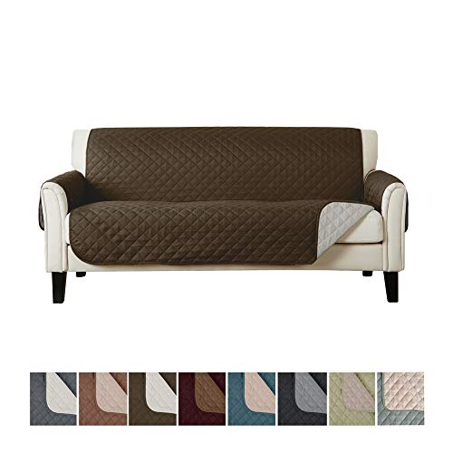 Home Fashion Designs Deluxe Reversible Quilted Furniture Protector. Perfect for Families with Pets and Kids. (Sofa/Couch - Chocolate/Flax) Deluxe Pet Loveseat Throw