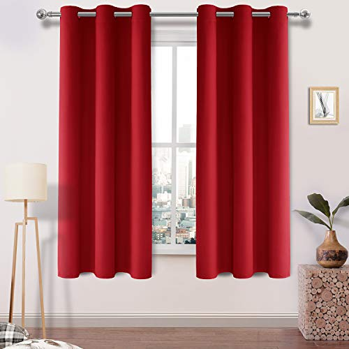 Red Mini Blinds - DWCN Blackout Curtains Room Darkening Thermal Insulated Thick Curtain for Bedroom Grommet Top Drapes Blind Window Curtain 42 x 63, Set of 2 Red Panels