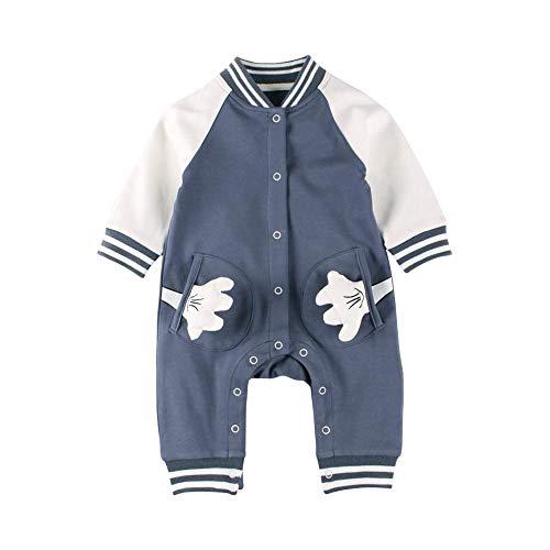 ffff38fd4fd59 Baby Nest ベビー服 前開き ロンパース 男の子 長袖 カバーオール 野球 コットン ネイビー 6-9M