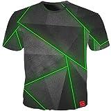 Summer T Shirt Men Geometry 3D Print Green Line Tees Shirt Plus 5XL Cool Men T Shirts Tops Streetwear(Photo color-3XL)