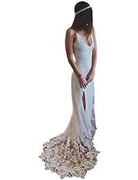 Womens Double V Neck Lace Applique Split Beach Wedding Dress