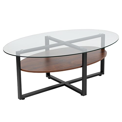Flash Furniture Princeton Collection Glass Coffee Table with Rustic Oak Wood Finish and Black Metal Legs , Clear/Rustic Oak - NAN-JH-1798CT-GG