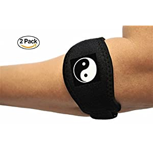 Tennis Elbow Brace (2 Pack) with Compression Pad - Bandit Therapeutic Forearm Band - Best Pain Relief for Elbow Tendonitis - One size for Men and Women