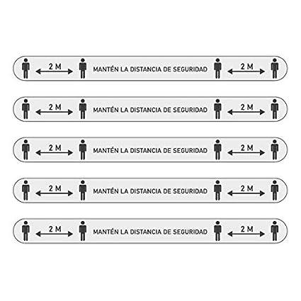 Franjas Adhesivas de Distancia de Seguridad para suelo Pack 5 Vinilos Se/ñalizaci/ón Distancia Social 2m Vinilo Medidas de Protecci/ón AZUL